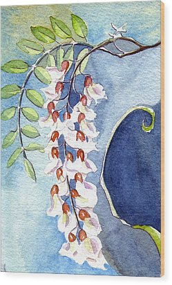 Wood Print featuring the painting Locust Bloom by Katherine Miller