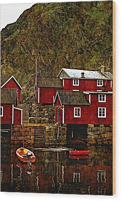 Lofoten Fishing Huts Overlay Version Wood Print by Steve Harrington