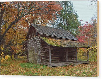 Wood Print featuring the photograph Log Cabin 1 by Jim McCain