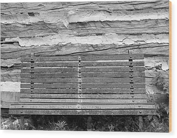 Log Cabin Bench 1 Black And White Wood Print by Mary Bedy
