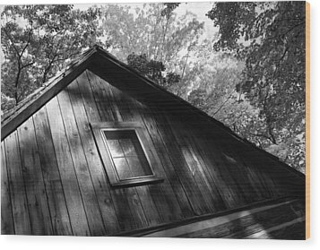 Log Cabin Bw Version Wood Print
