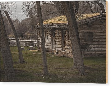 Log Cabin By The River Wood Print by David Kehrli