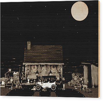 Log Cabin Scene  With The Old Vintage Classic 1913 Buick Model 25 In Sepia Color Wood Print by Leslie Crotty