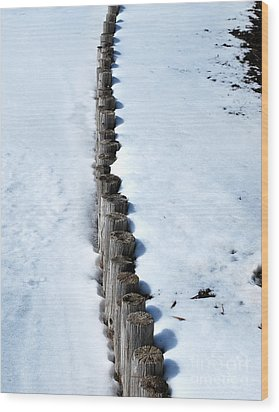 Log Fence In The Snow Wood Print by Nancy Mueller
