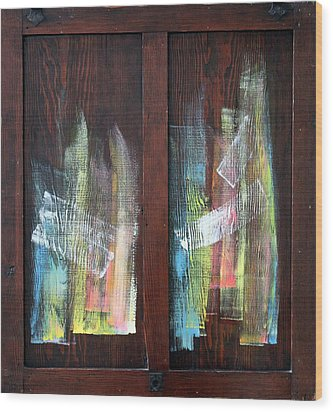 Log Fire Cabinet Door Wood Print by Asha Carolyn Young