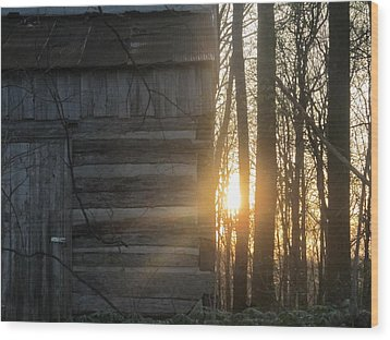 Log House Up Close And Sunset Wood Print