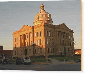 Logan County Courthouse  Lincoln Wood Print