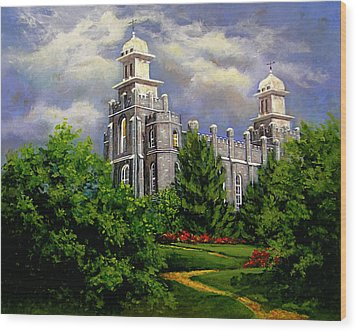 Logan Utah Temple Pathway To Heaven Wood Print