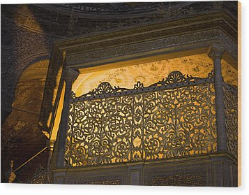 Loge Of The Sultan In Hagia Sophia  Wood Print by Artur Bogacki