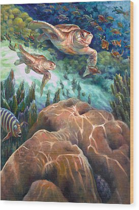 Loggerhead Sea Journey I Wood Print by Nancy Tilles