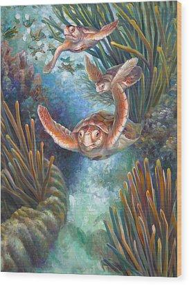 Loggerhead Sea Journey IIi Wood Print by Nancy Tilles