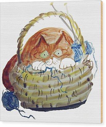Lois Hides In The Basket Of Knitting Wood Print by Ellen Miffitt
