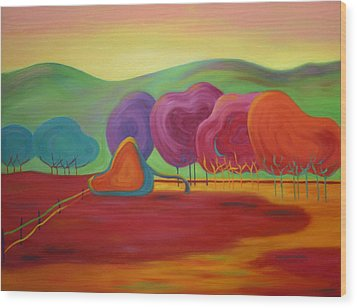 Wood Print featuring the painting Lollipop Ranch by Nancy Jolley