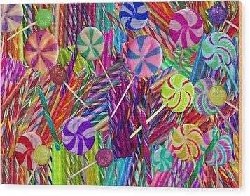 Lolly Pop Twists Wood Print by Alixandra Mullins