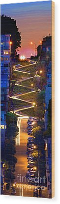 Lombard Street In The Evening San Francisco Wood Print by Wernher Krutein