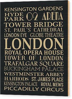 London Attractions Wood Print by Jaime Friedman