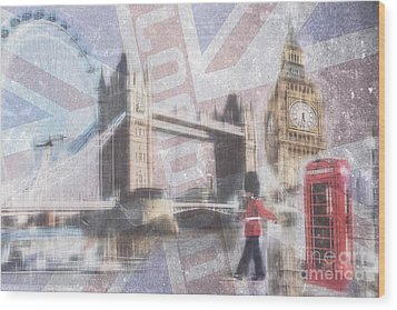 London Blue Wood Print by Hannes Cmarits