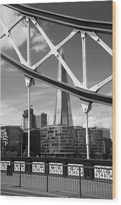 London Bridge With The Shard Wood Print by Chevy Fleet