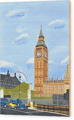 London England Big Ben  Wood Print by Magdalena Frohnsdorff