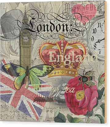 London England Vintage Travel Collage  Wood Print