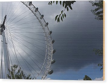 London Eye Clouds Wood Print by Nicky Jameson