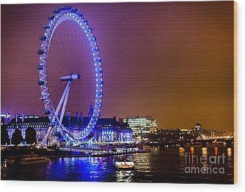 Wood Print featuring the photograph London Eye Night Glow by Matt Malloy