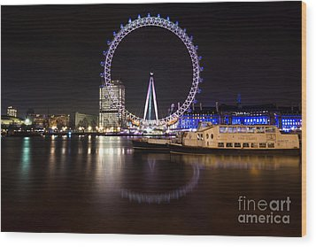Wood Print featuring the photograph London Eye Night by Matt Malloy
