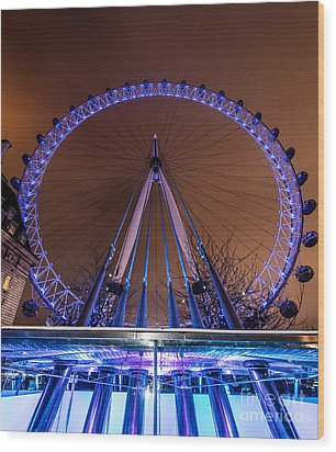 Wood Print featuring the photograph London Eye Supports by Matt Malloy