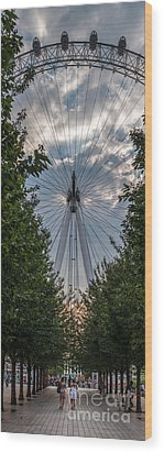 London Eye Vertical Panorama Wood Print