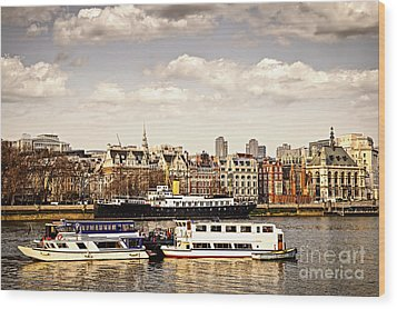 London From Thames River Wood Print by Elena Elisseeva