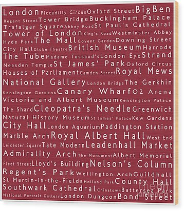 London In Words Red Wood Print