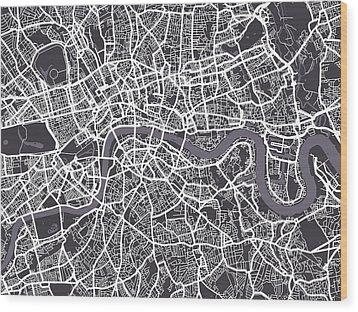 London Map Art Wood Print by Michael Tompsett