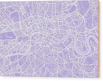 London Map Lilac Wood Print by Michael Tompsett