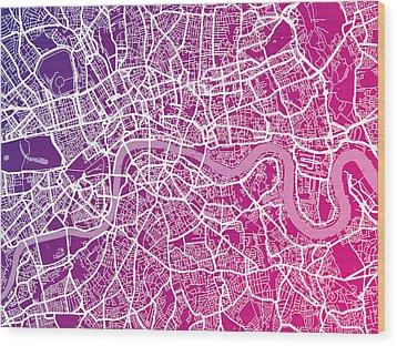 London Map Red Wood Print by Michael Tompsett