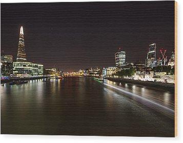 London Nightscape Wood Print by Wayne Molyneux