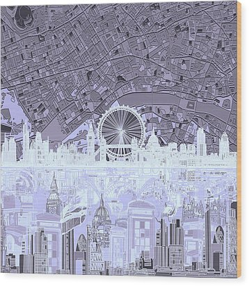 London Skyline Abstract 10 Wood Print