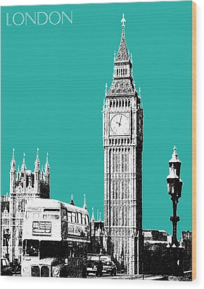 London Skyline Big Ben - Teal Wood Print by DB Artist
