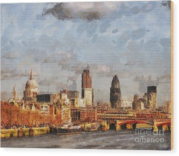 London Skyline From The River  Wood Print by Pixel Chimp