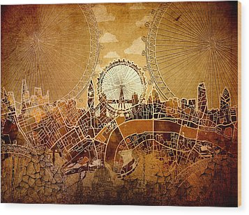 London Skyline Old Vintage  Wood Print