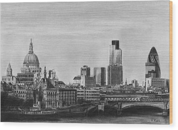 London Skyline Pencil Drawing Wood Print