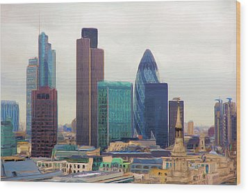 Wood Print featuring the digital art London Skyline by Ron Harpham