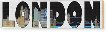 London Skyline Text Outline Color Illustration Wood Print by JPLDesigns