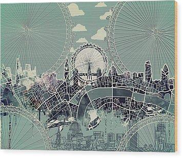 London Skyline Vintage Wood Print