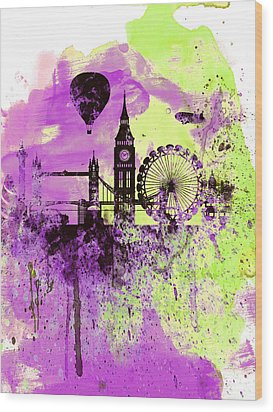 London Skyline Watercolor 1 Wood Print by Naxart Studio
