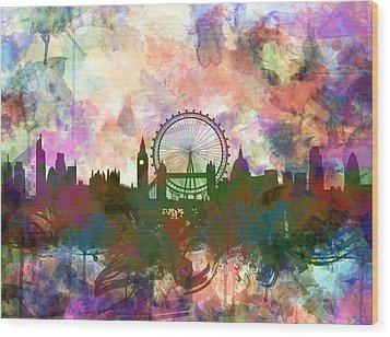 London Skyline Watercolor Wood Print