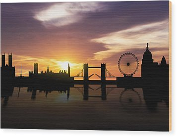 London Sunset Skyline  Wood Print by Aged Pixel