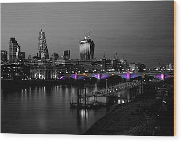 London Thames Bridges Bw Wood Print