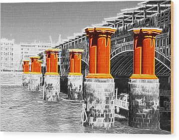 London Thames Bridges Fractals Wood Print by David French