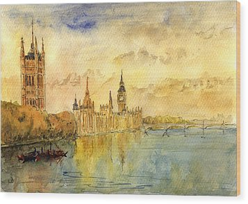 London Thames River Wood Print by Juan  Bosco
