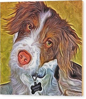 London The Dog Portrait Wood Print by Artistinoz Jodie sims